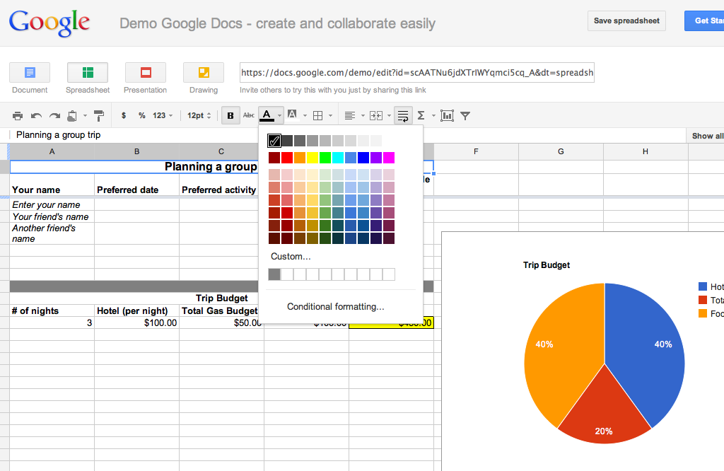 how to change colour on google docs