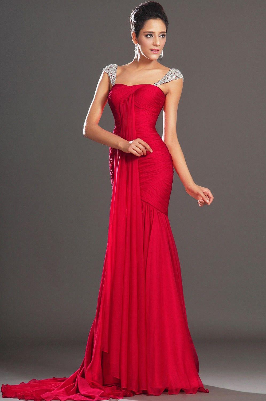 Красное платье в пол на выпускной