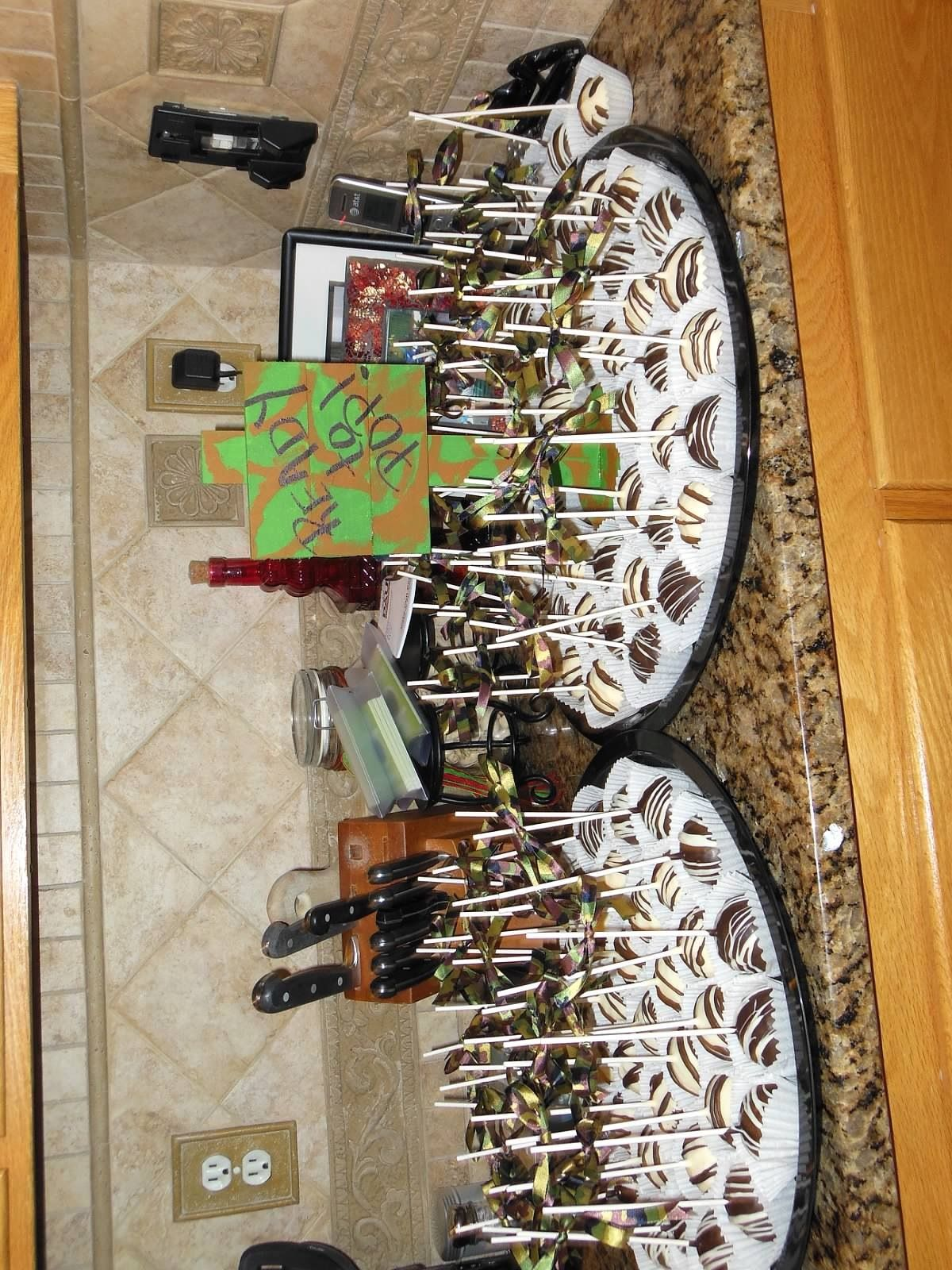 camo baby shower cake pops baby showers pinterest