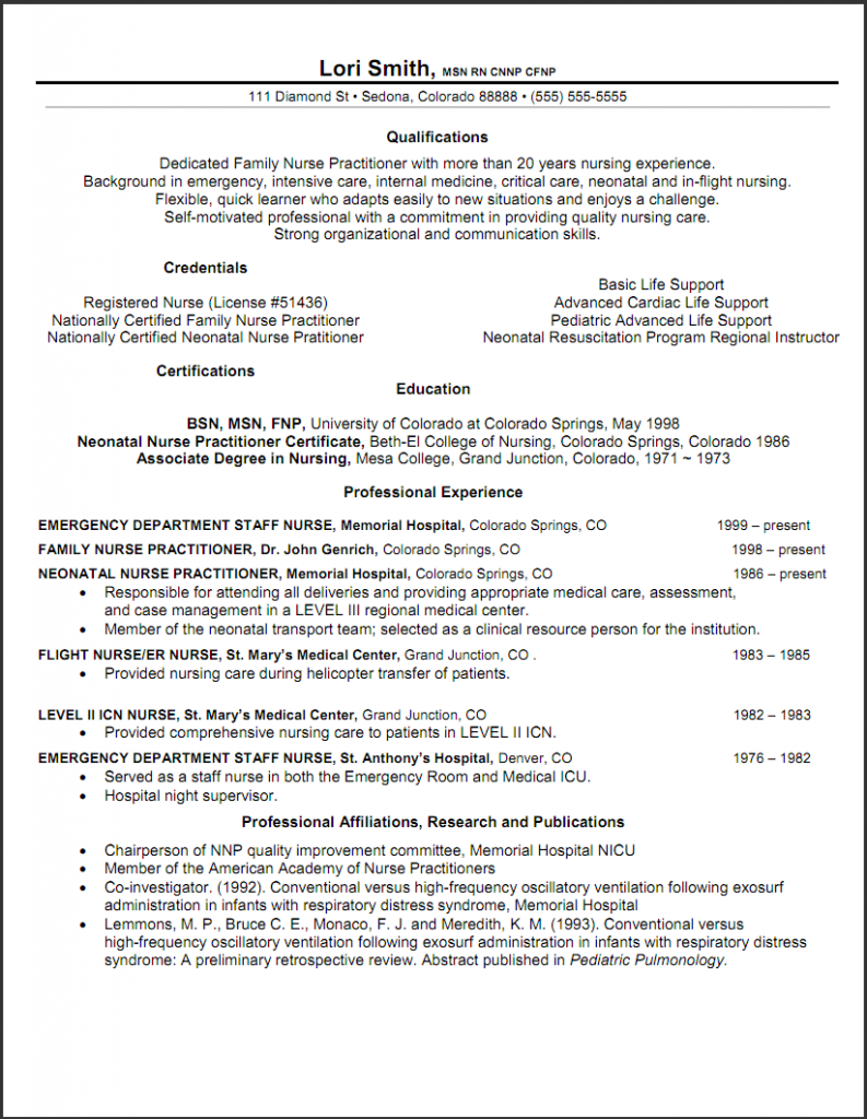 Resume For College Nursing Student