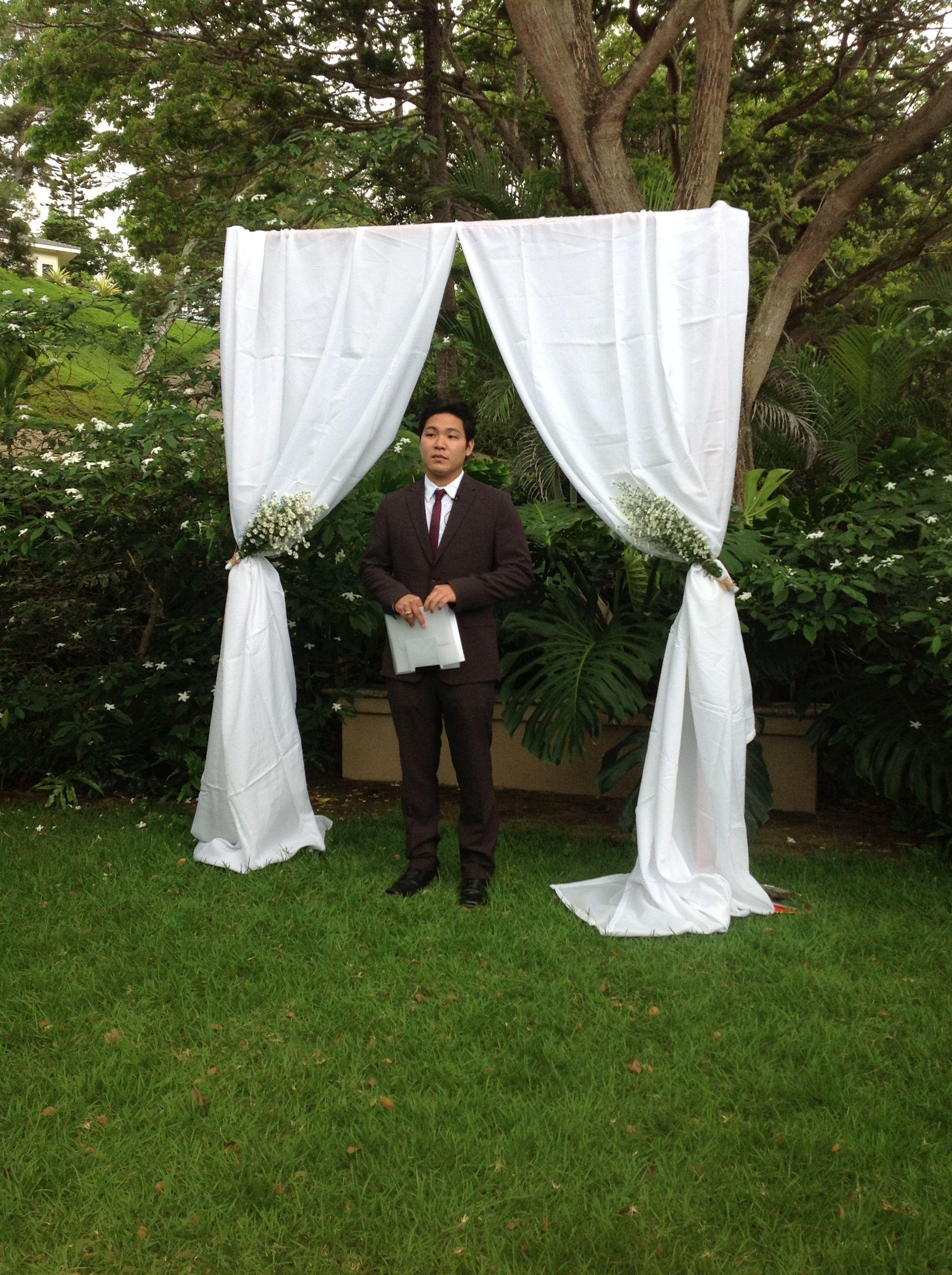 rustic curtain arbor | My best friends wedding;) | Pinterest