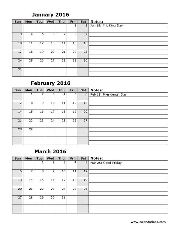 2016 Three Month Calendar Template 12L | crates | Pinterest ...