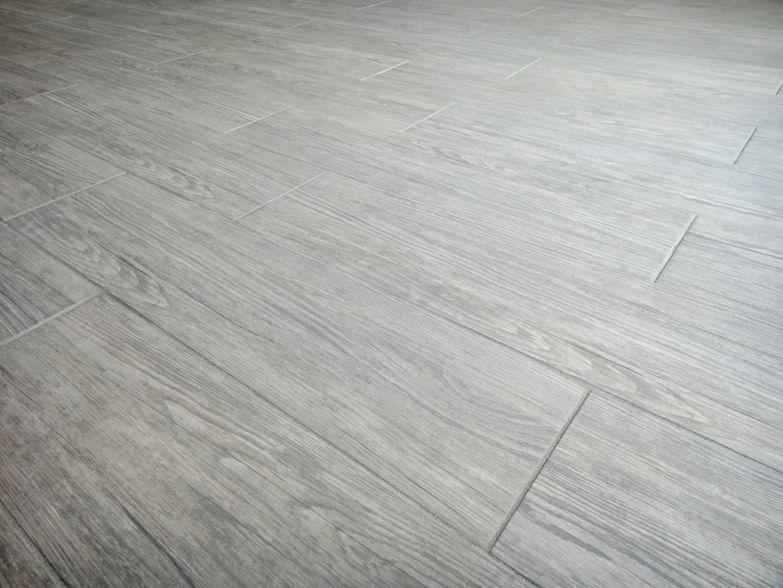 Grey Wood Tile : Grey wood-look porcelain tile for floor.  Small Bathroom Design Idea ...