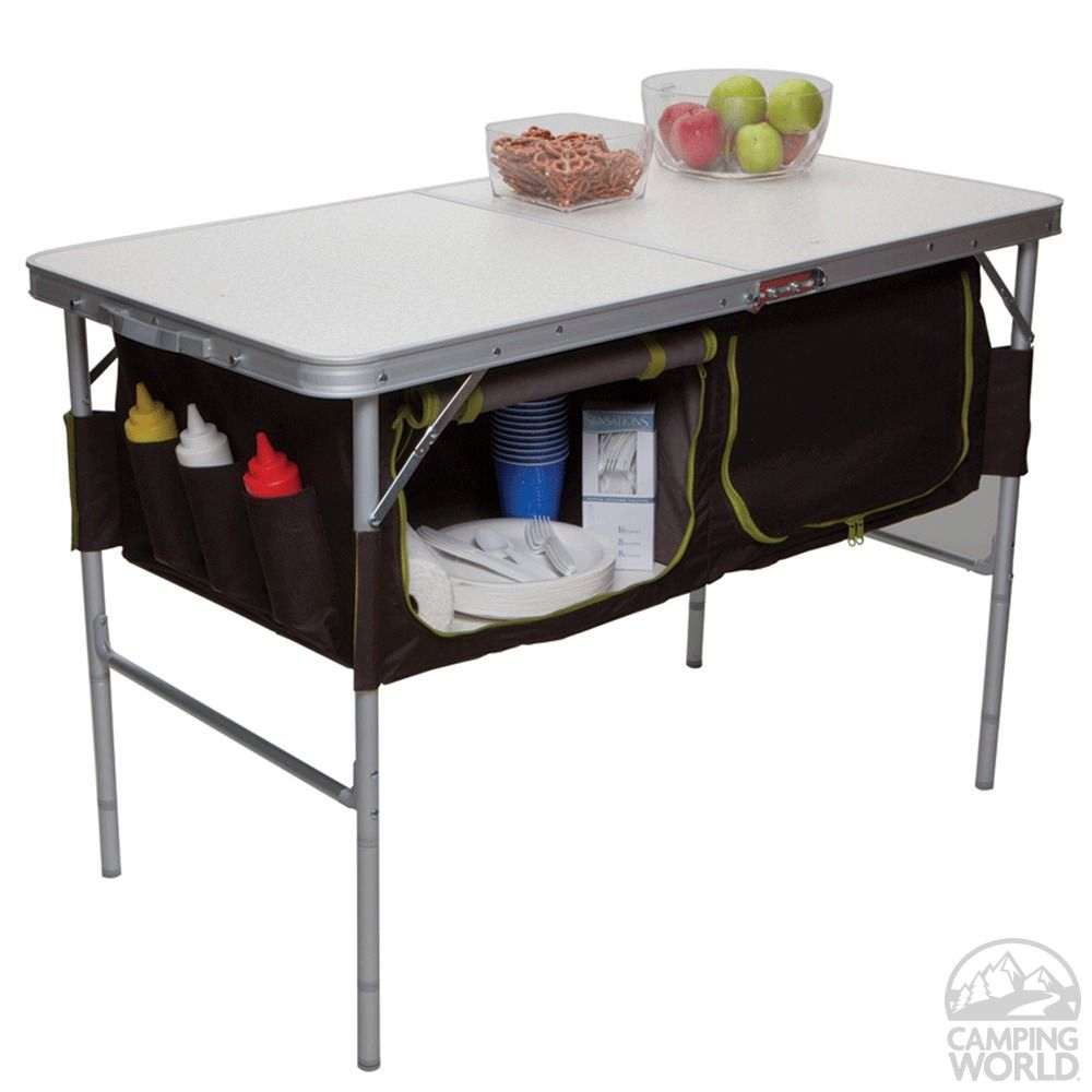 Folding Camp Table With Storage Bins