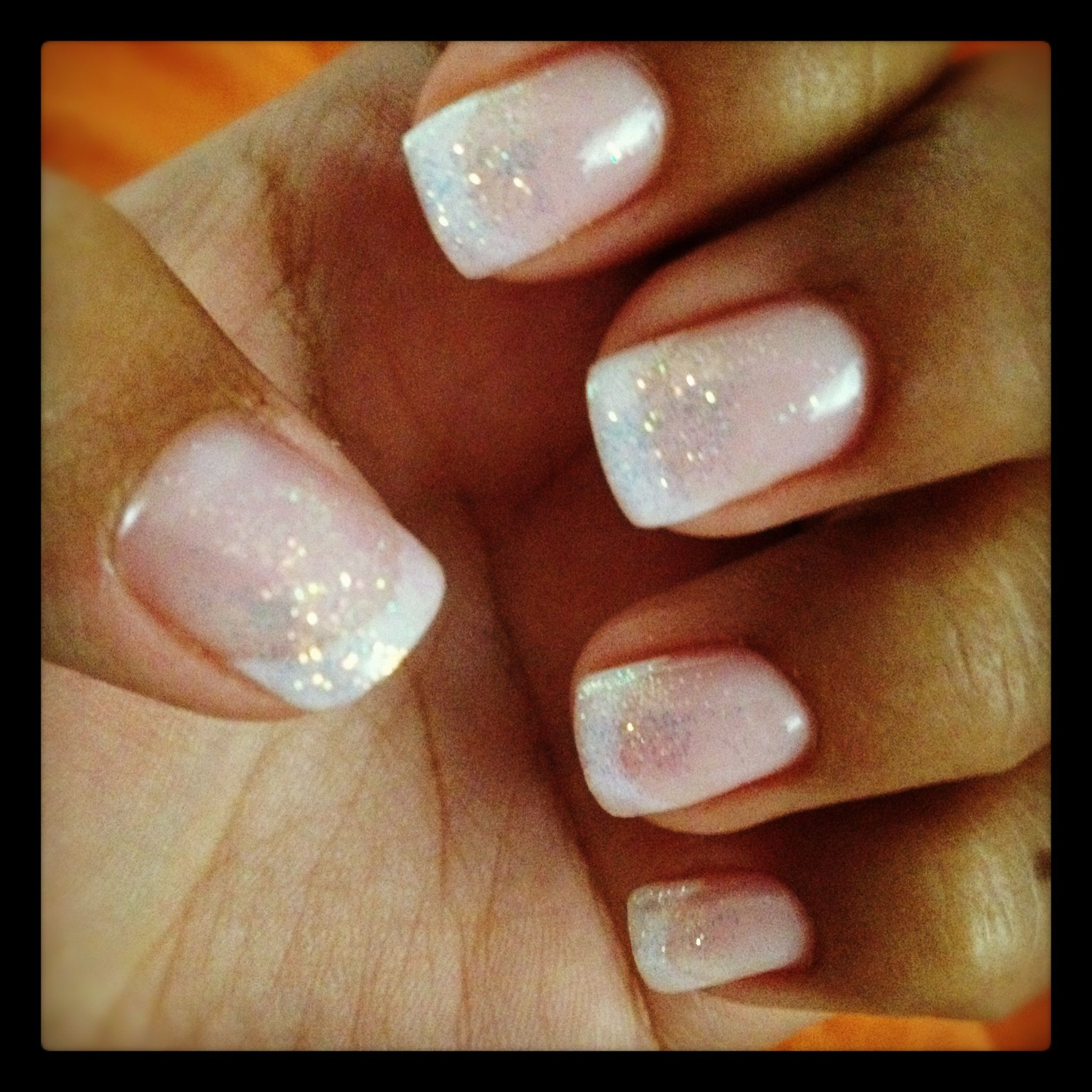 Shellac French tip and glitter | Things I Like | Pinterest