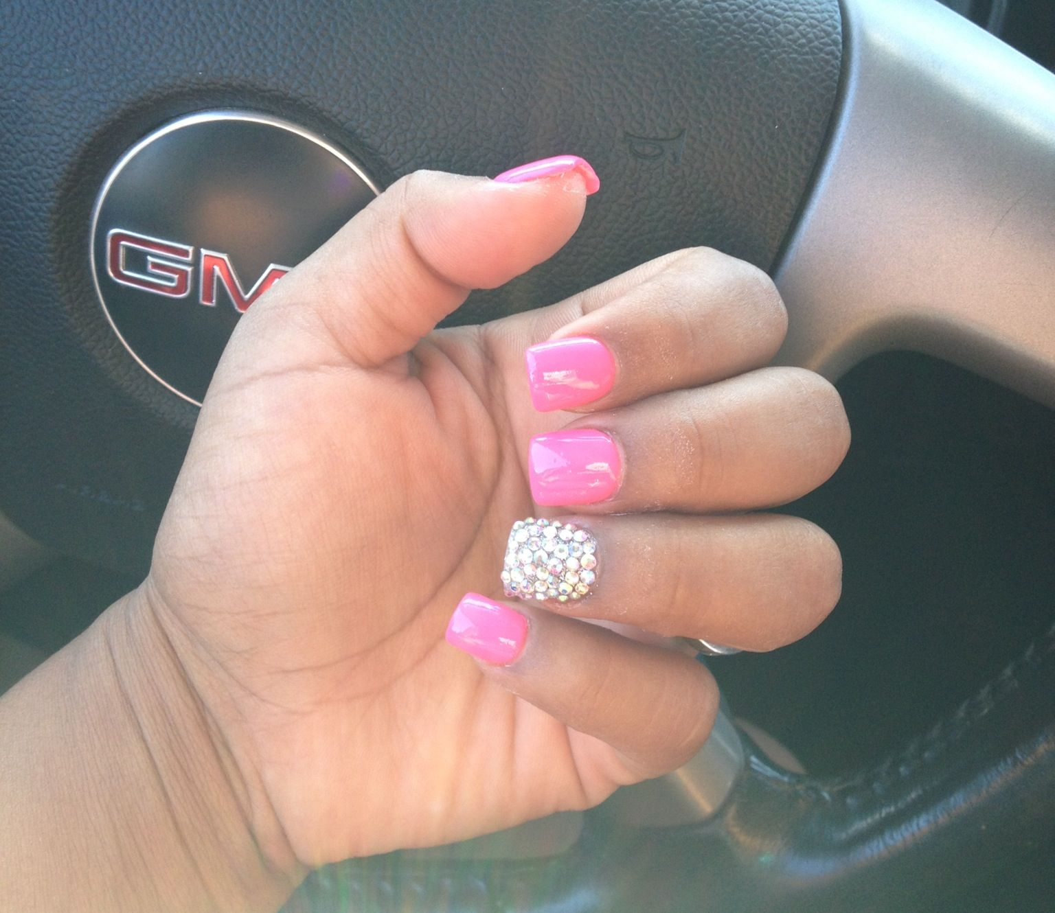 My Pink gel nails with Rhinestones | My style | Pinterest