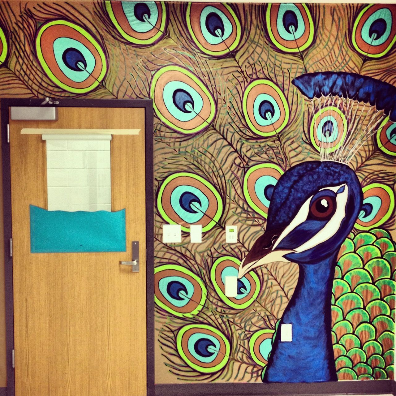 peacock mural in my art room my classroom pinterest