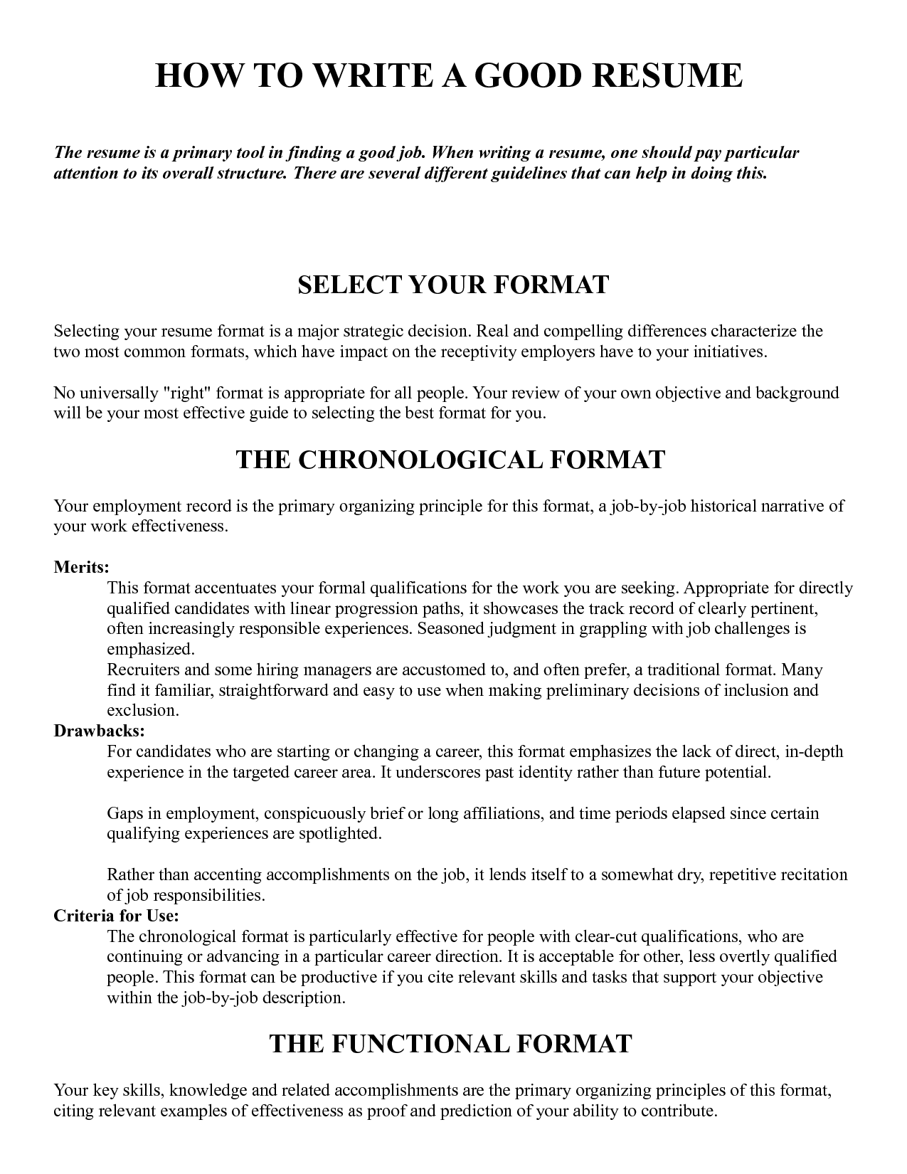 Format In Writing Cv