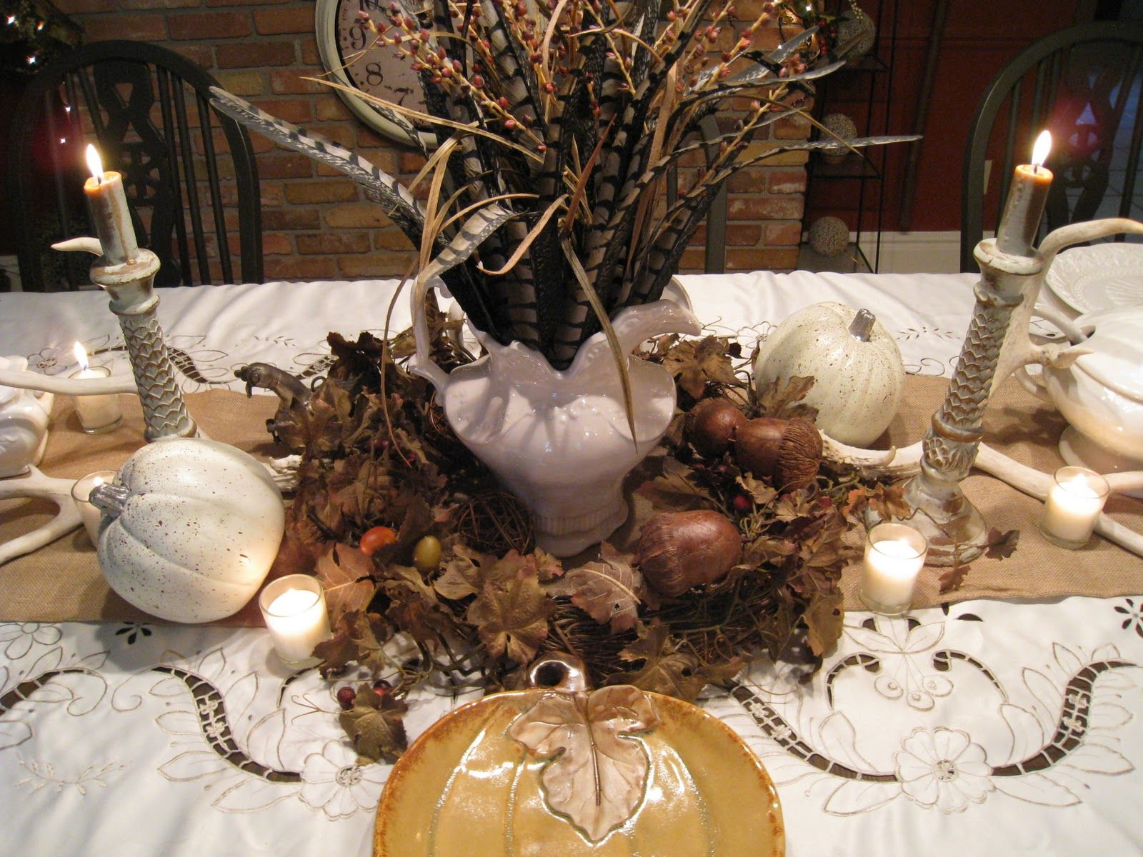 Pheasant feather centerpiece thanksgiving mabon pinterest Simple thanksgiving table decorations