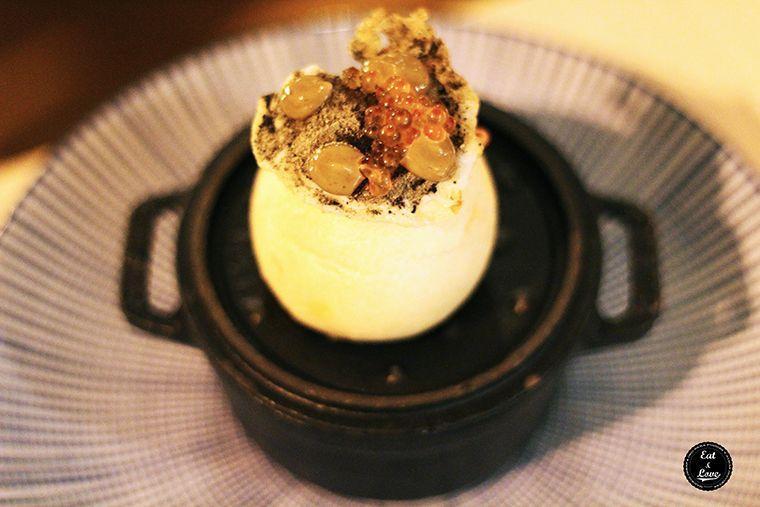 bollo preñao de chorizo con huevos de codorniz y huevas de trucha - Al Trapo - restaurante alta cocina creativa Madrid hotel Letras