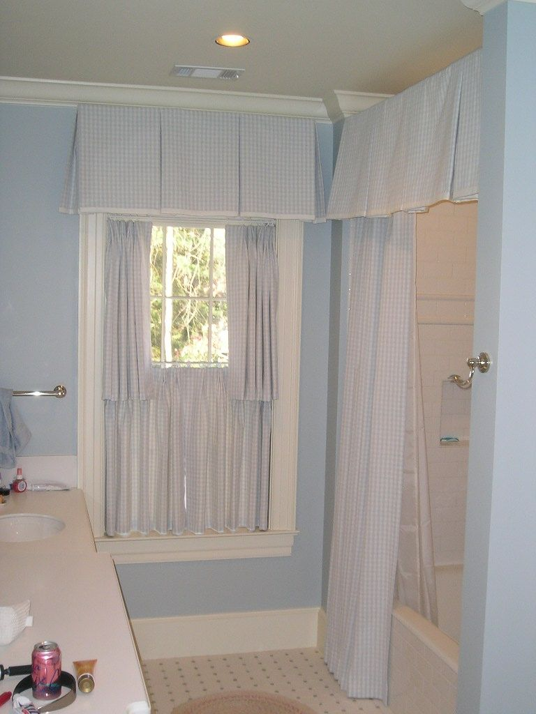 Shower curtain valance window treatments pinterest for Bathroom curtains window treatments