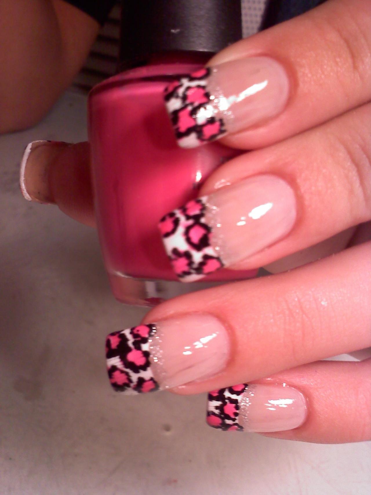 Фото френч на ногтях леопард
