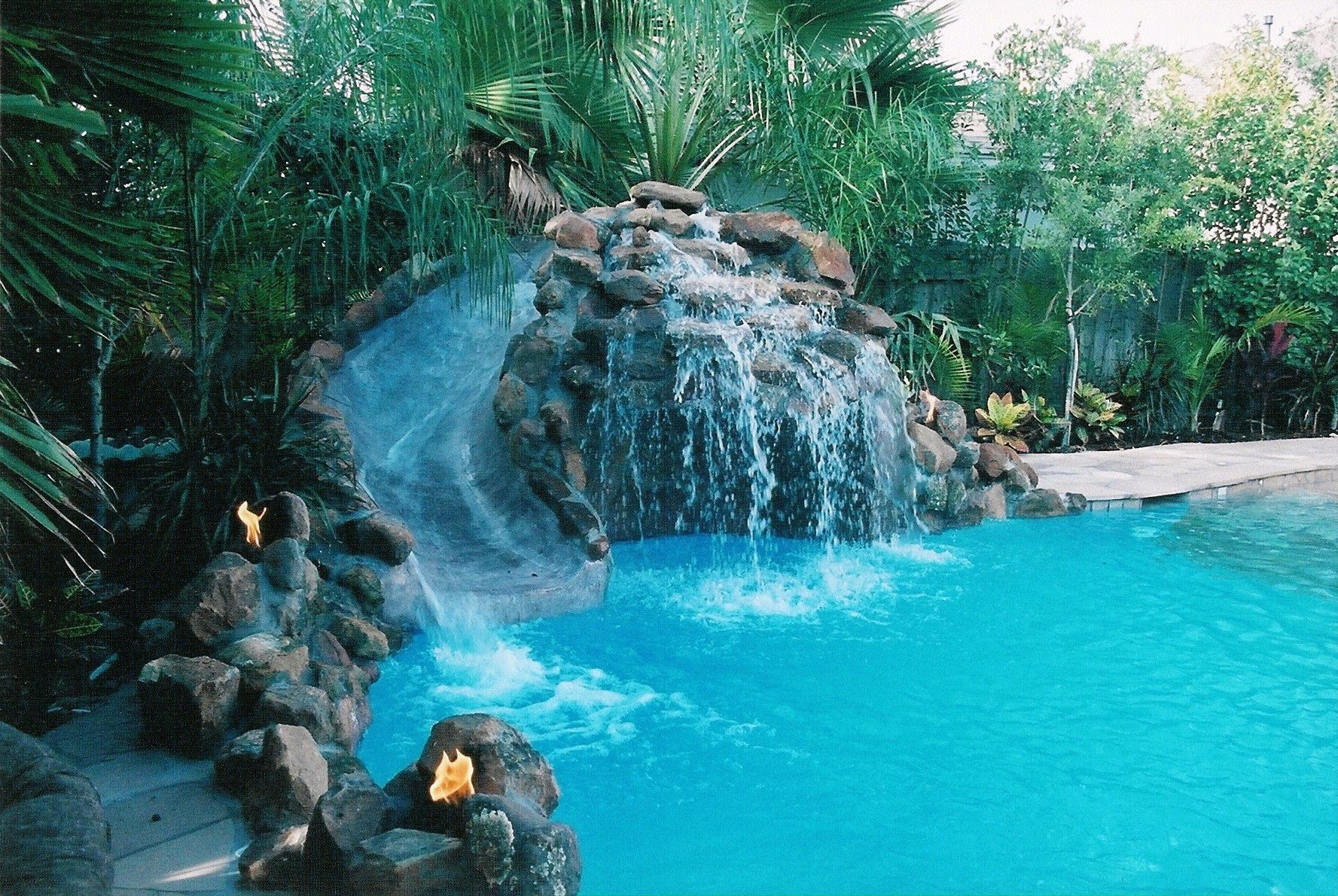 Pool slide fun faux rock painting pinterest for Pool waterfall