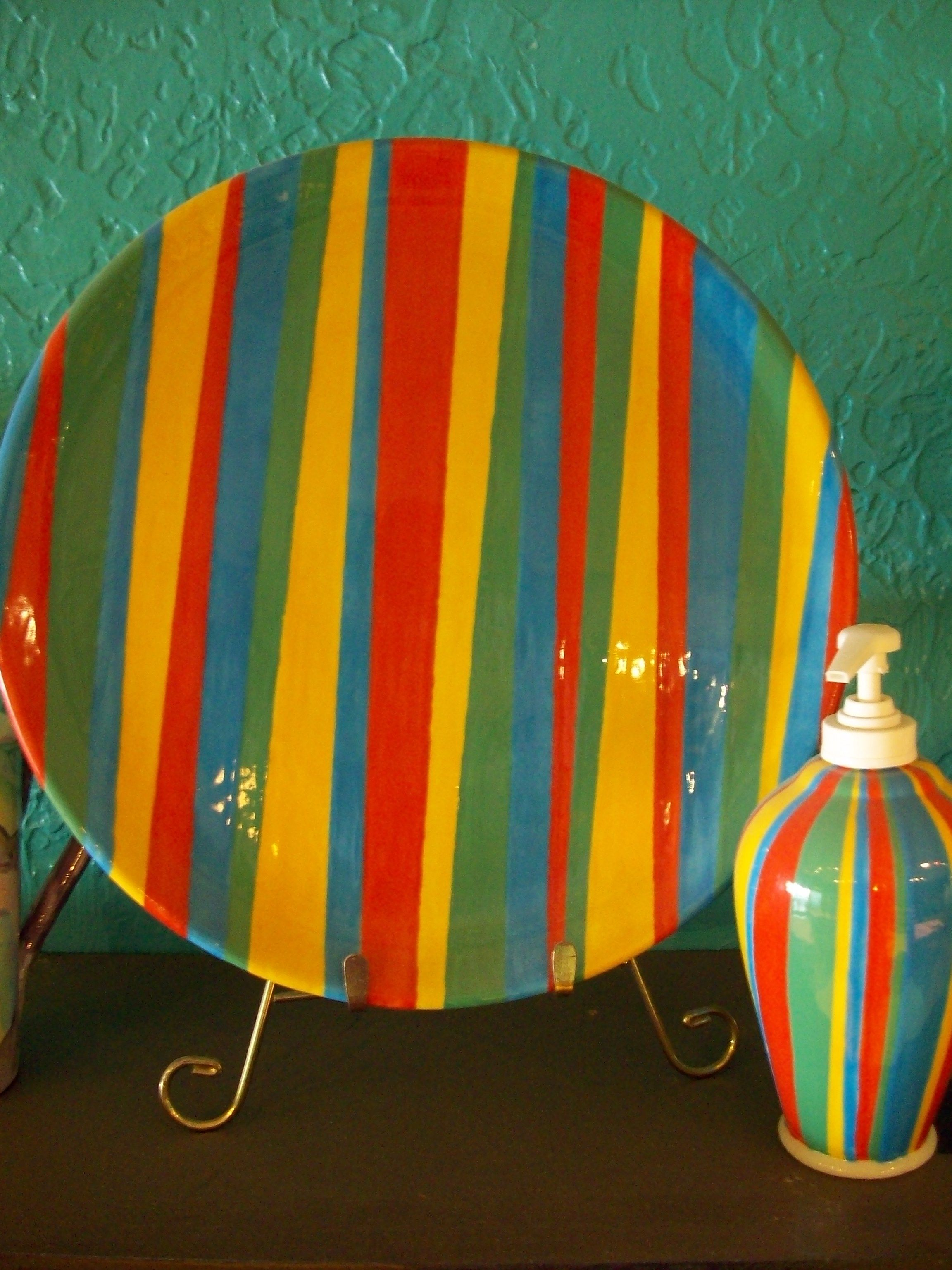 Stripes are so easy and look great creative pottery for Creative pottery painting ideas
