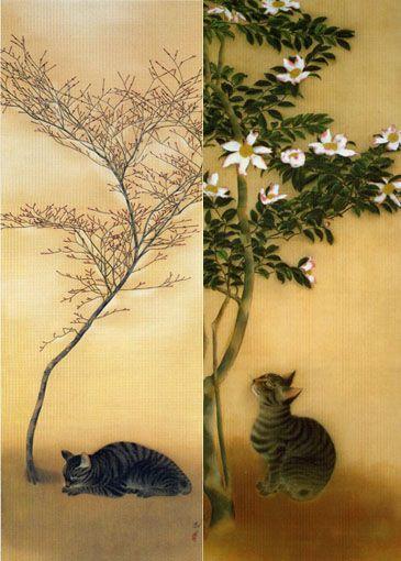 速水御舟 「猫(春眠)」と「山茶花に猫」 | Cat in Japanese art/日本美術の