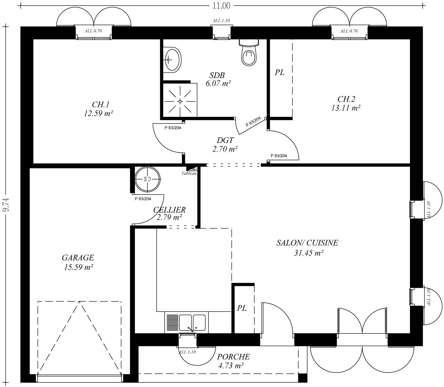 Plan maison en l avec garage amusant plan maison en l for Plan maison positive