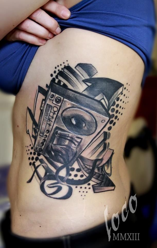 40 Boombox Tattoo Designs For Men – Retro Ink Ideas