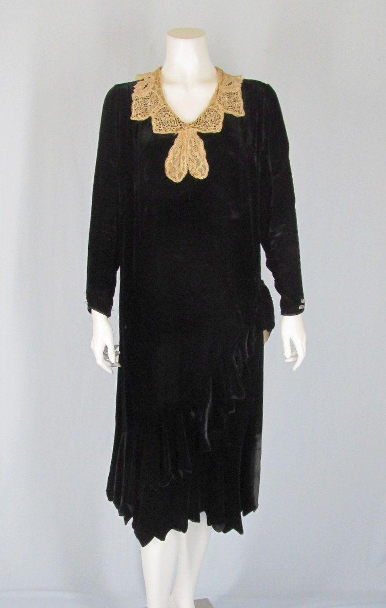 1920s lace collar velvet dress | 1920s Flapper Dresses ...