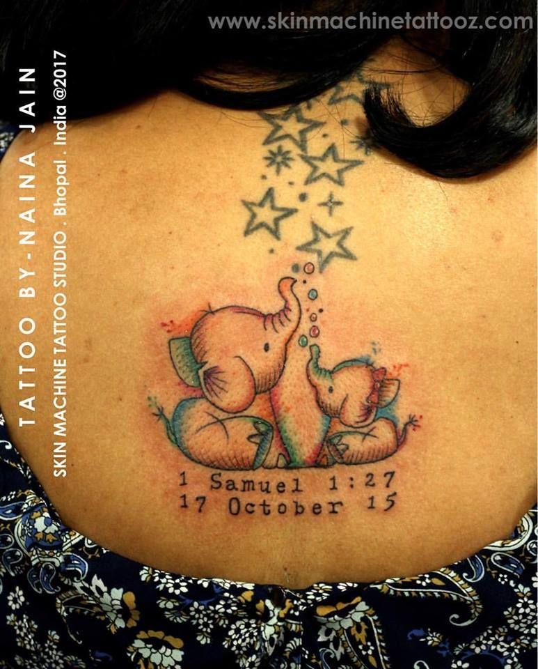 Mom and baby elephant tattoo