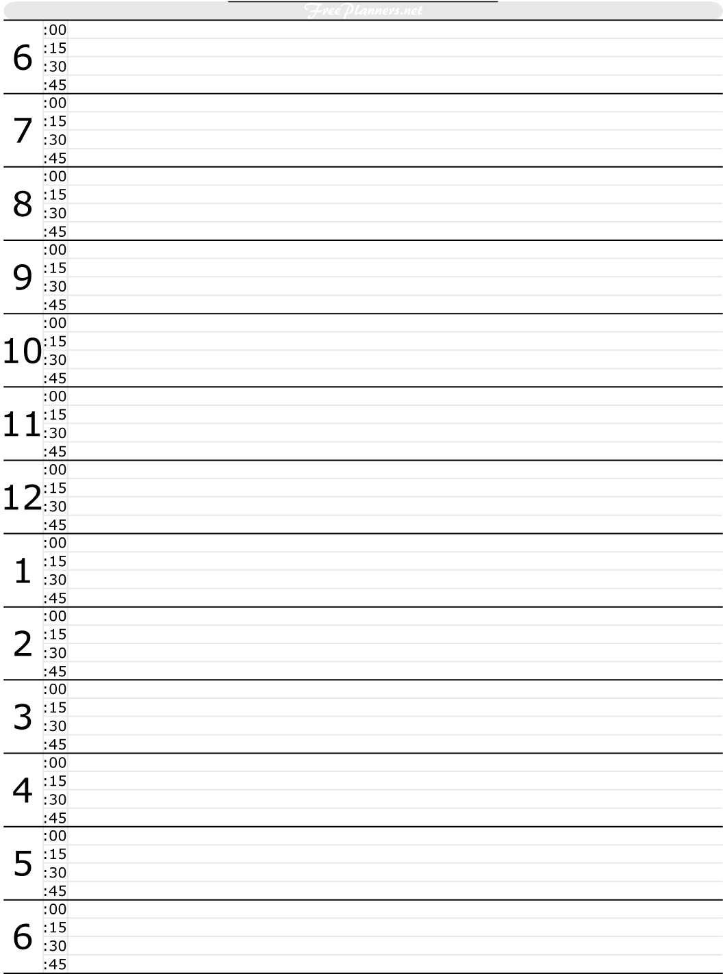 Free Printable Hourly Daily Planner Printable Editable Blank – Blank Daily Planner Template