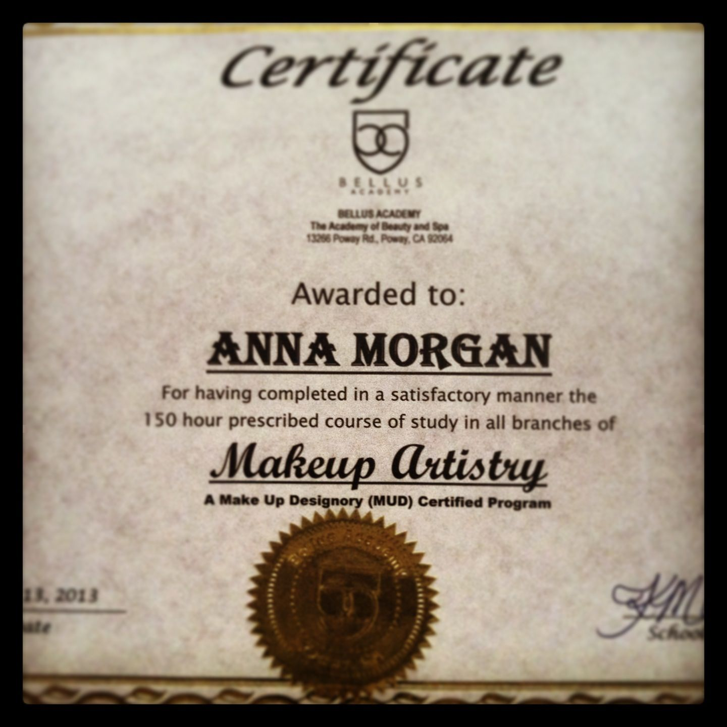 Certificate Of Completion In Makeup Artistry Cosmeticstutor