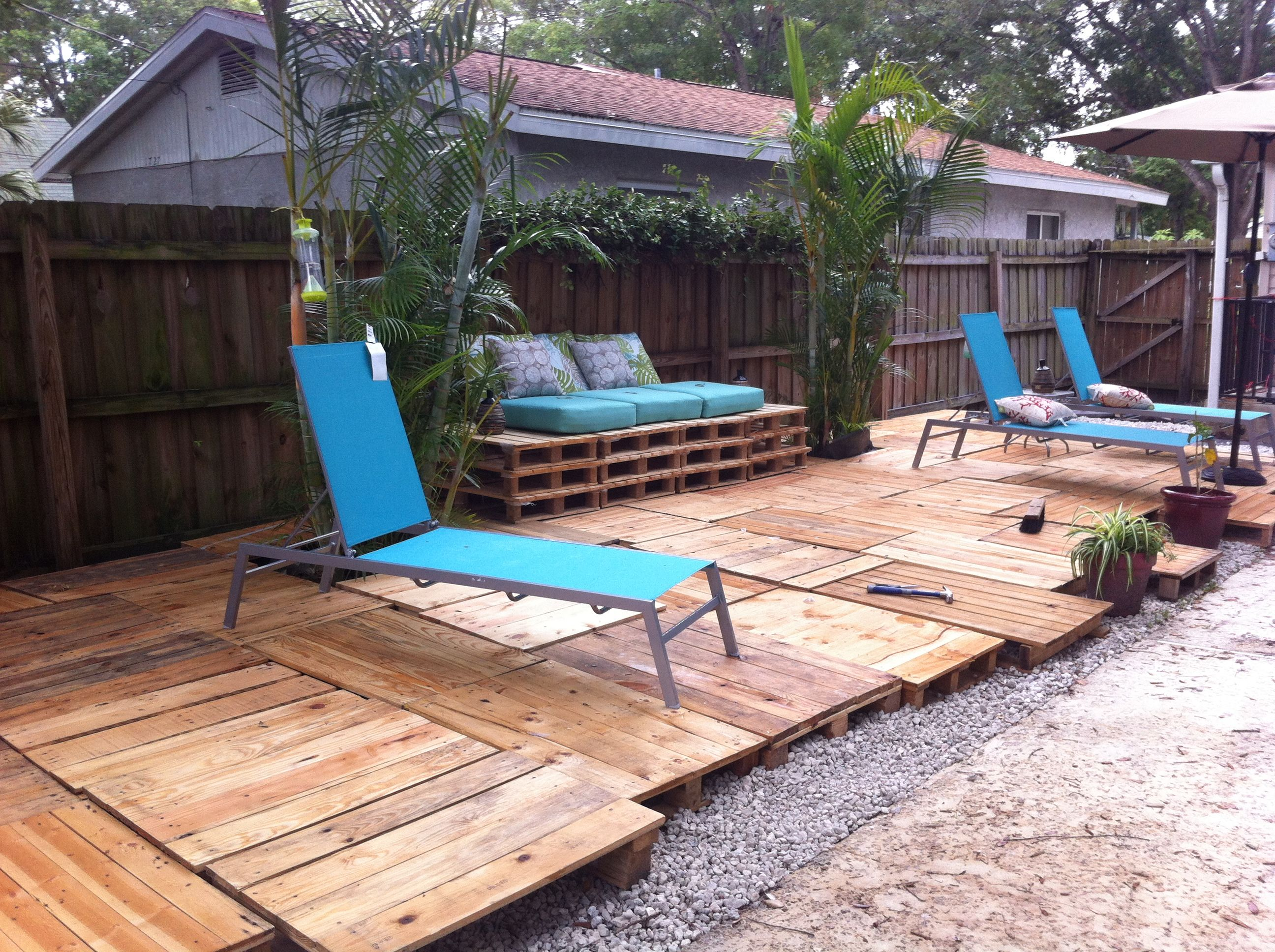 Pallet patio yard work pinterest for Pallet patio floor