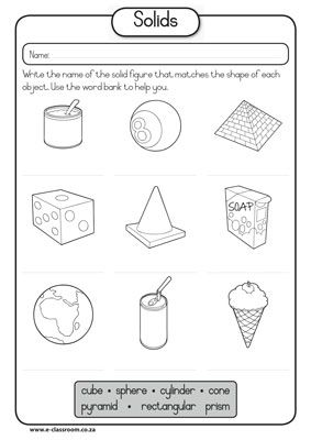 Solid shapes worksheets for kindergarten