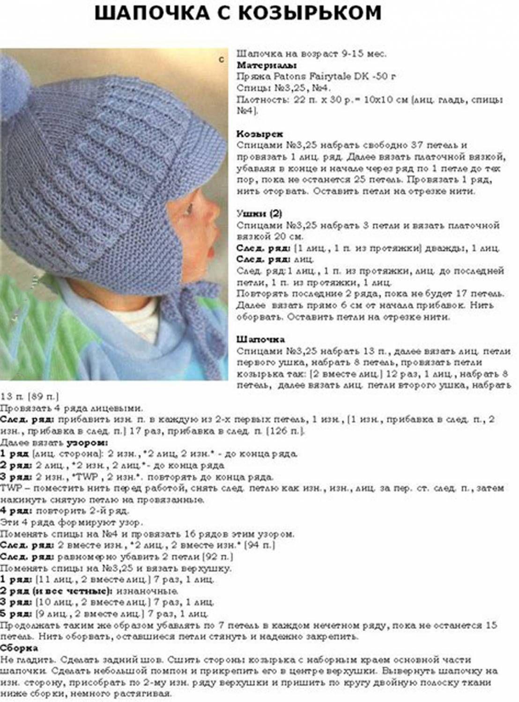 Схемы вязания шапочек на младенцев