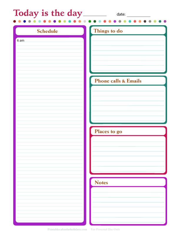 Blank Daily Calendar Template Printable Editable Blank – Blank Daily Planner Template