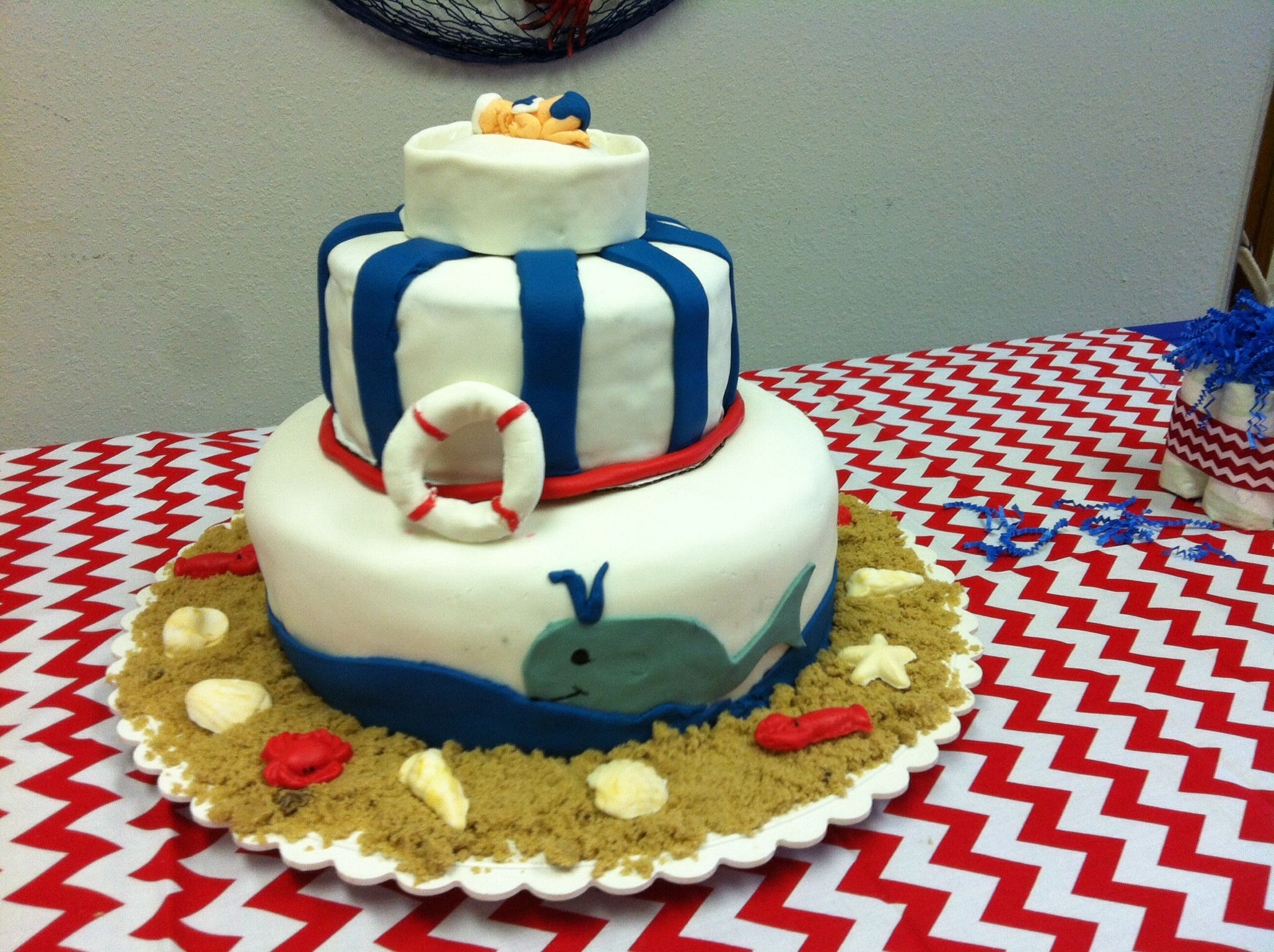 nautical baby shower cake cakes pinterest