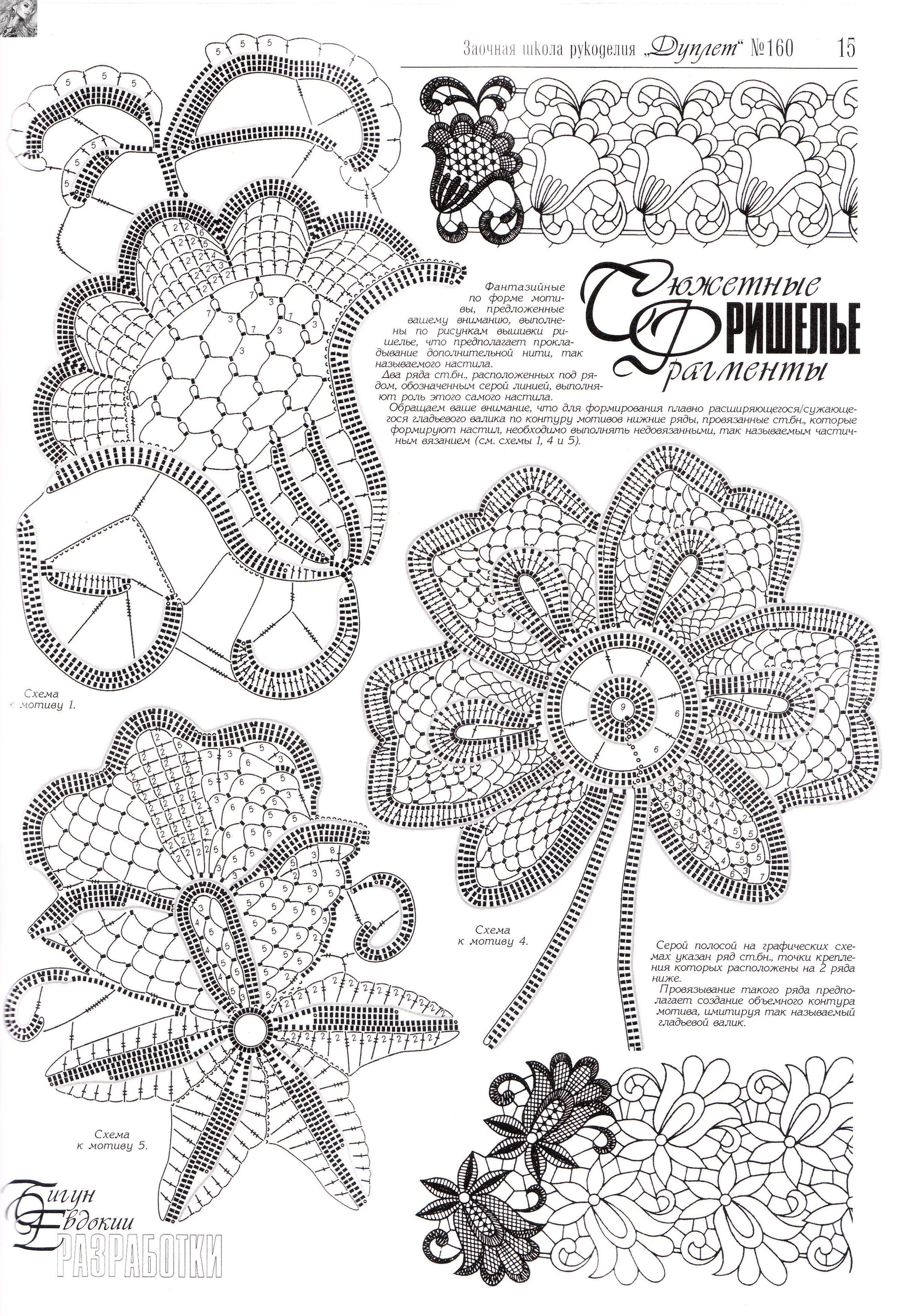 Схемы по вязанию ирландского кружева цветов крючком