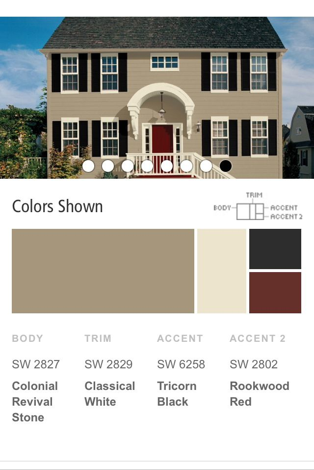 Tips and tricks for choosing exterior trim colors color palette monday pure white trim for Colonial revival stone exterior paint