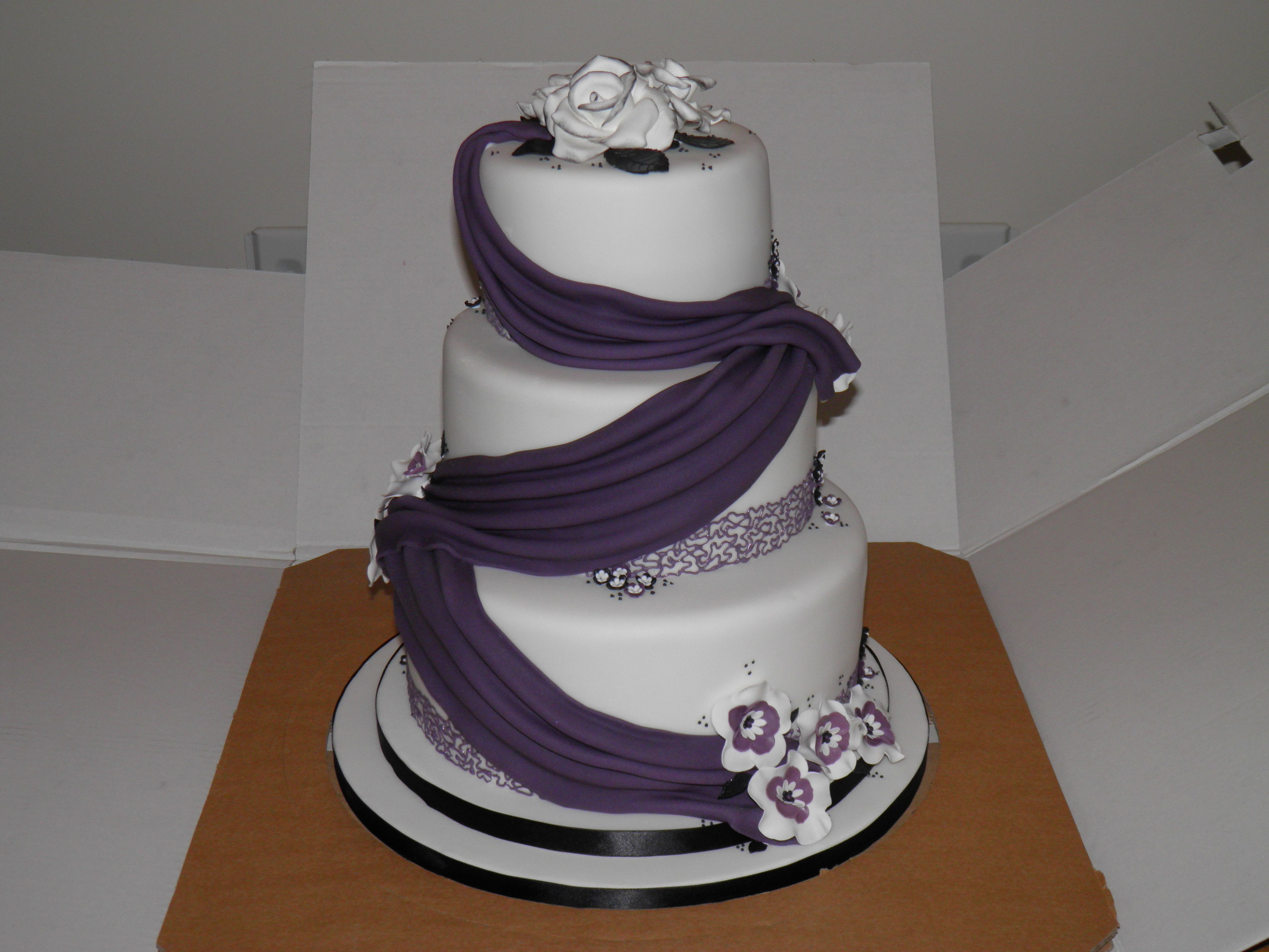 Purple and black wedding cake Wedding Stuff