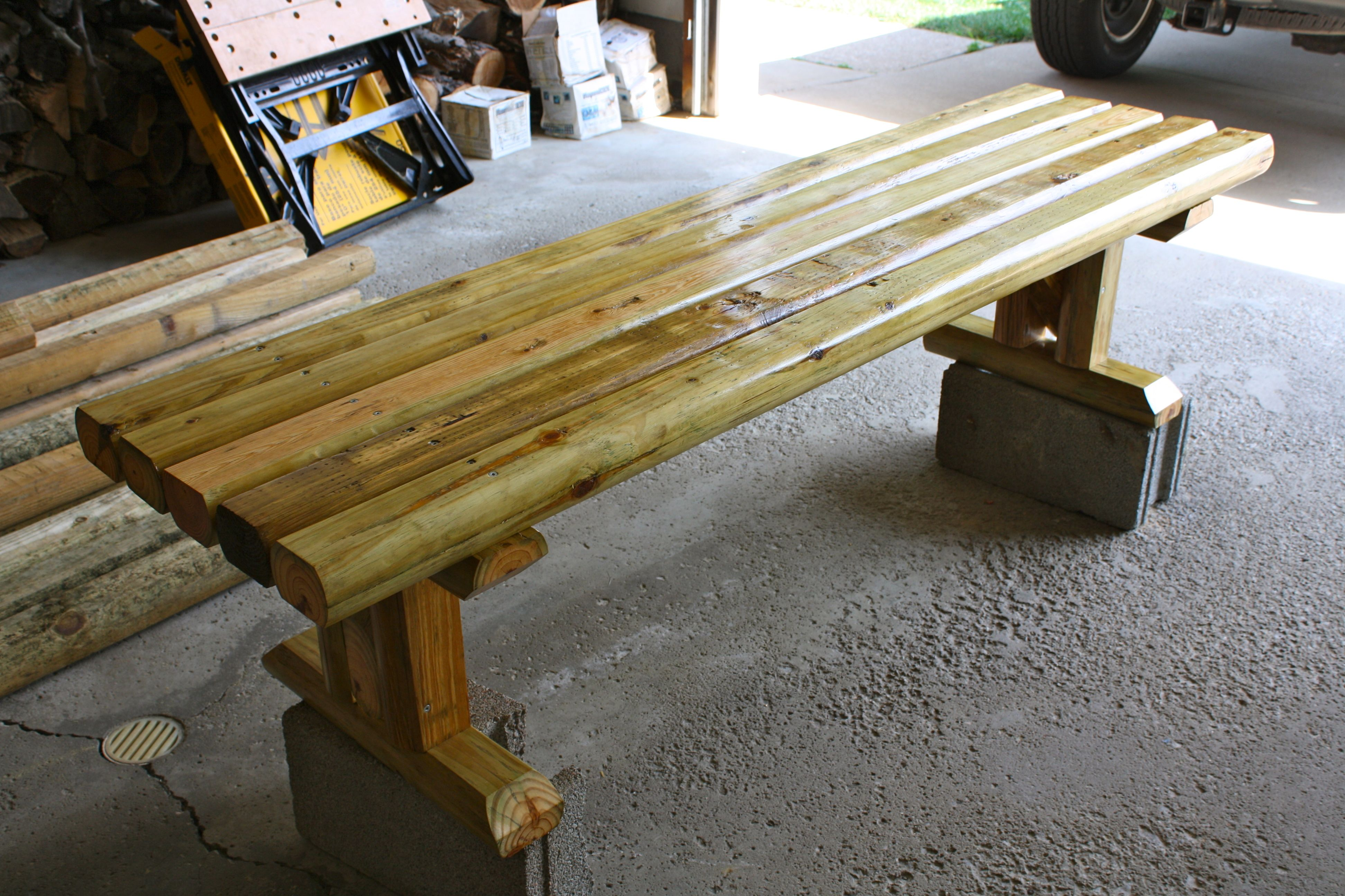 72 bench made out of landscape timbers my woodworking for Landscape timber bench