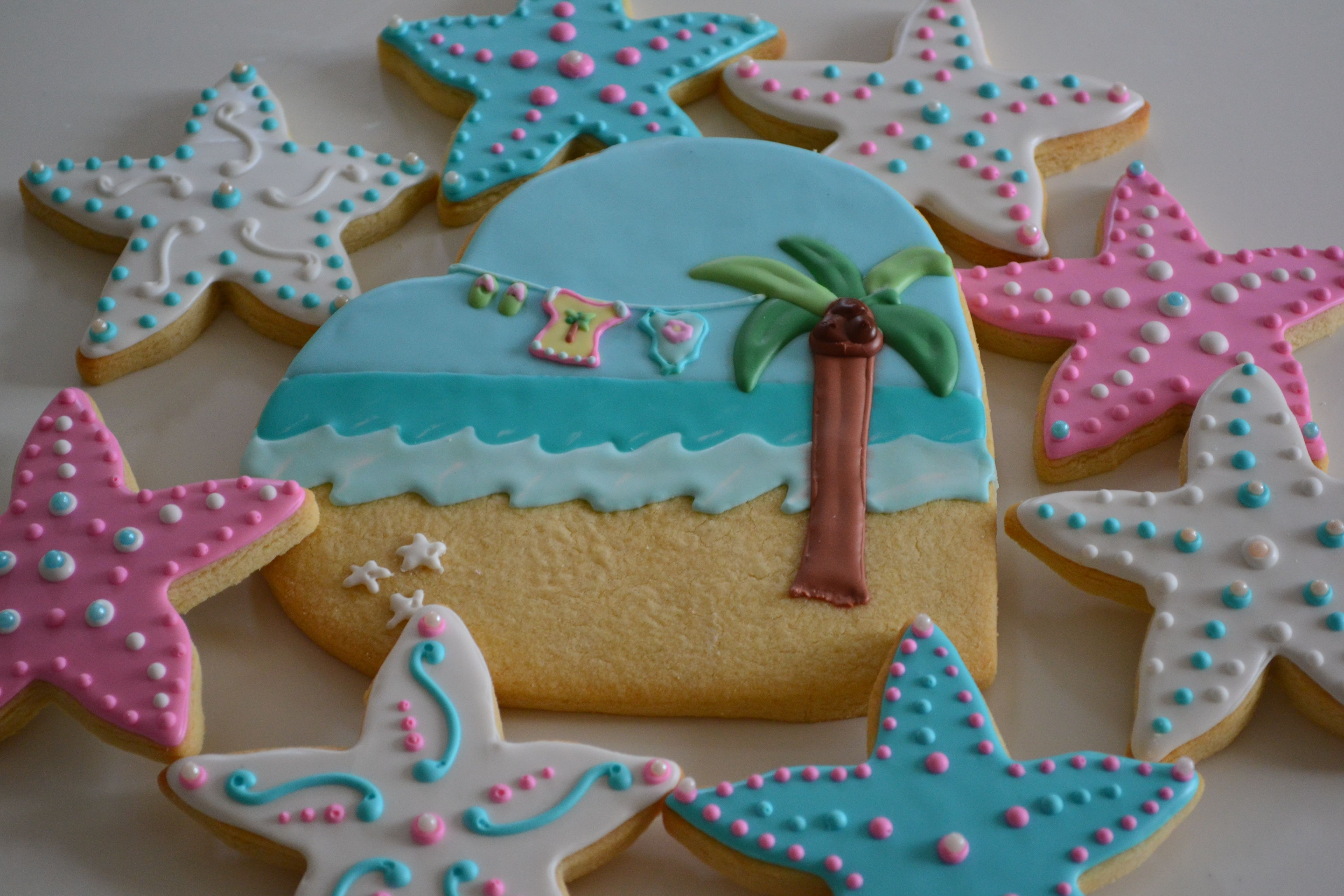 beach baby shower cookie favors cookies pinterest