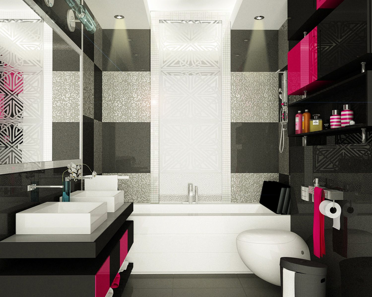 hot pink black bathroom design his and her bathroom