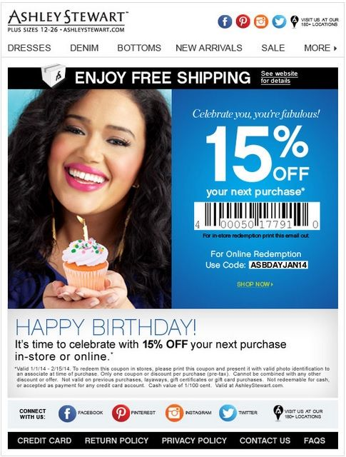 Ashley stewart coupon codes