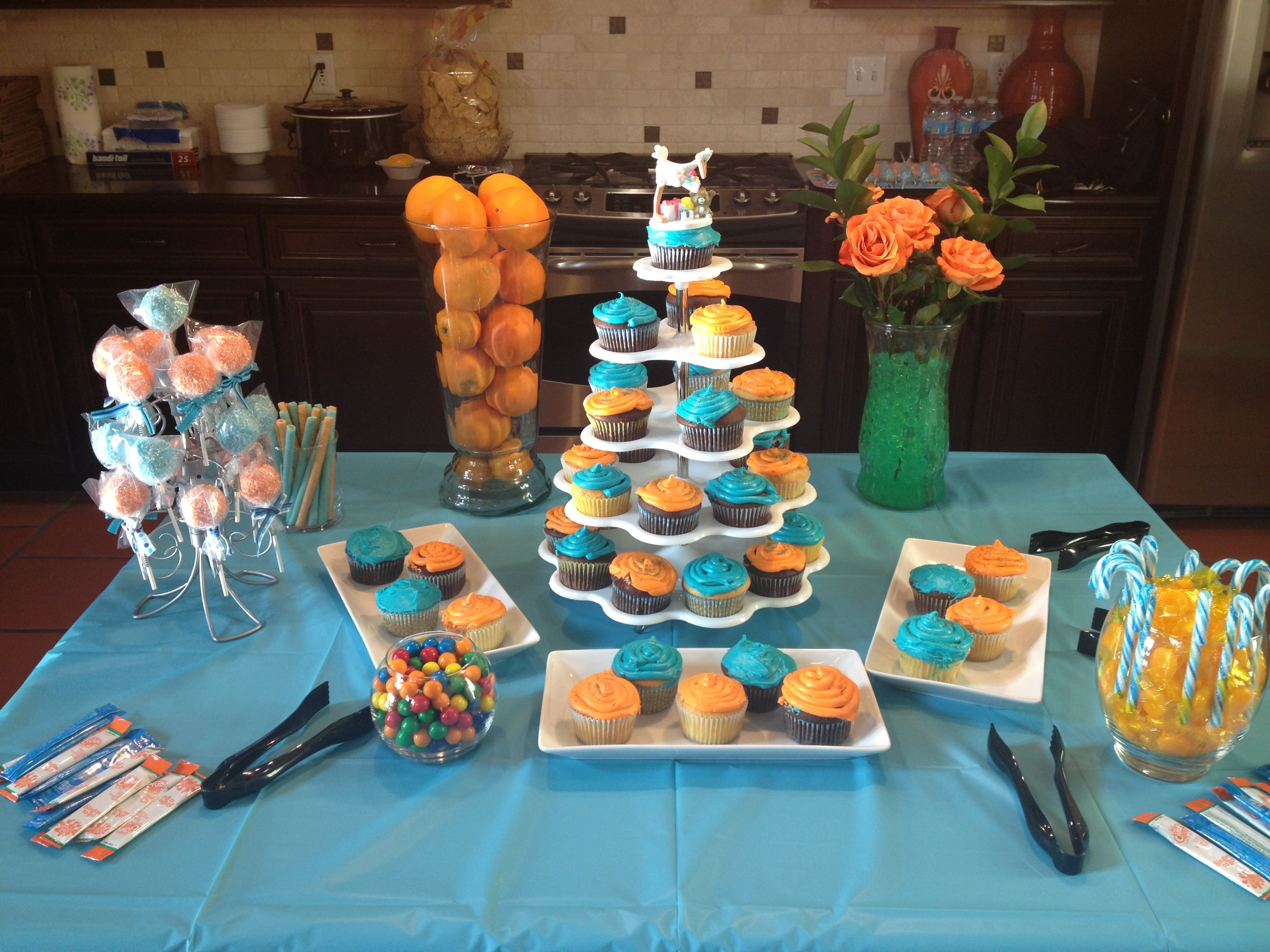 teal and orange baby shower baby shower decor pinterest