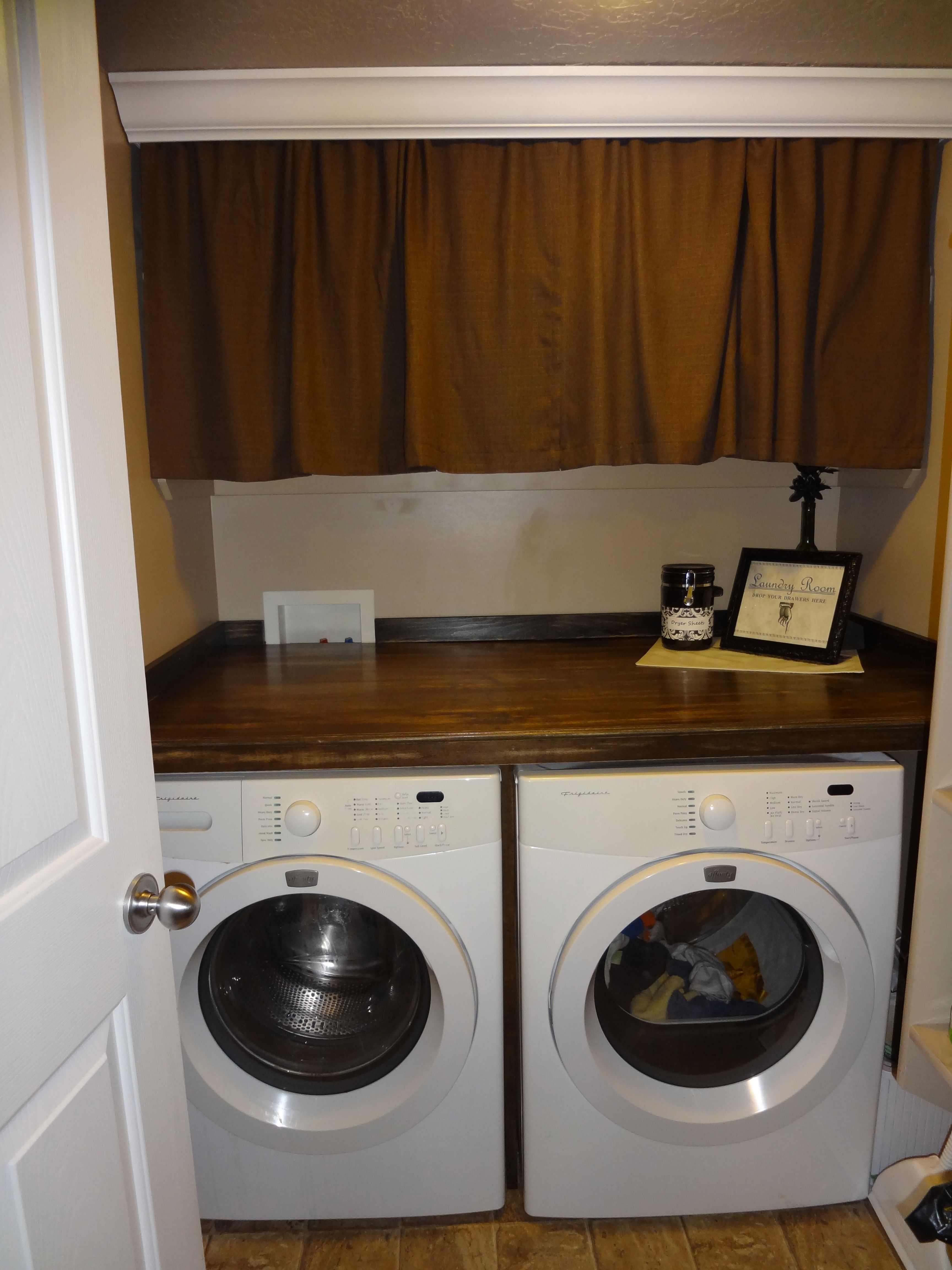 Counter Over Washer Dryer Crown Molding With Curtains To