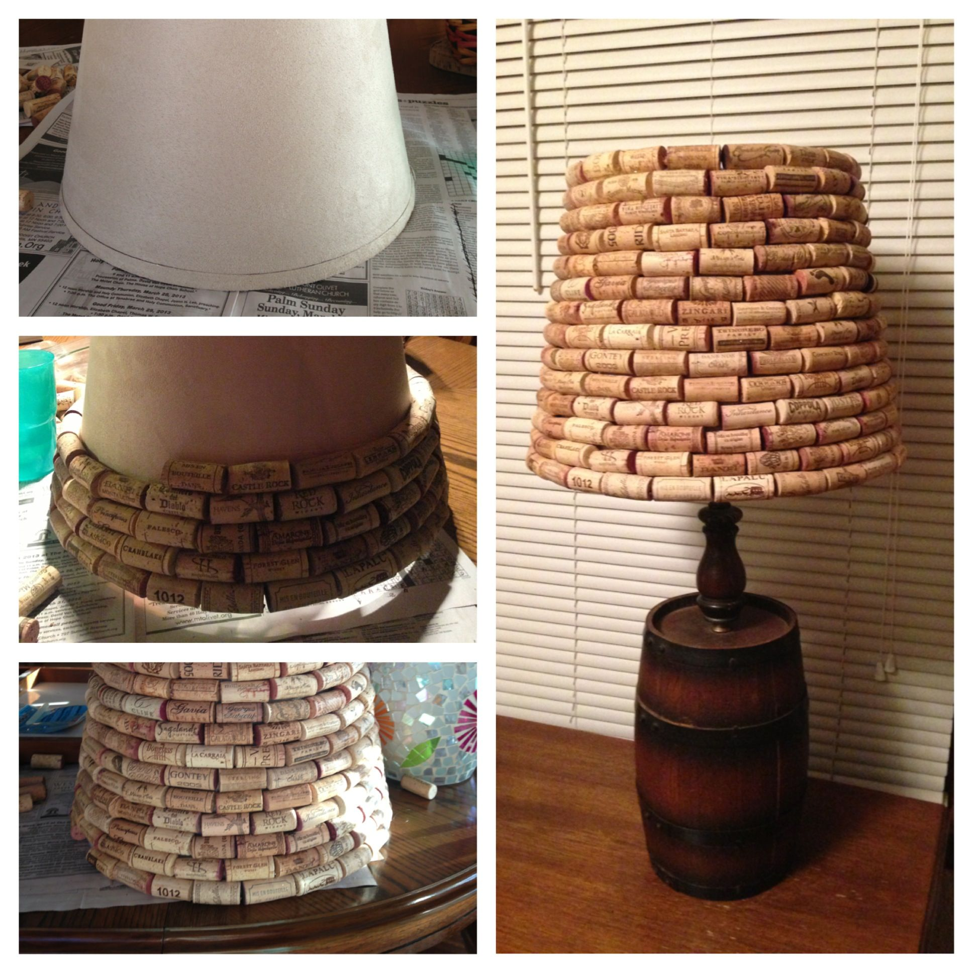 Wine cork lamp shade crafts pinterest for Wine cork ideas