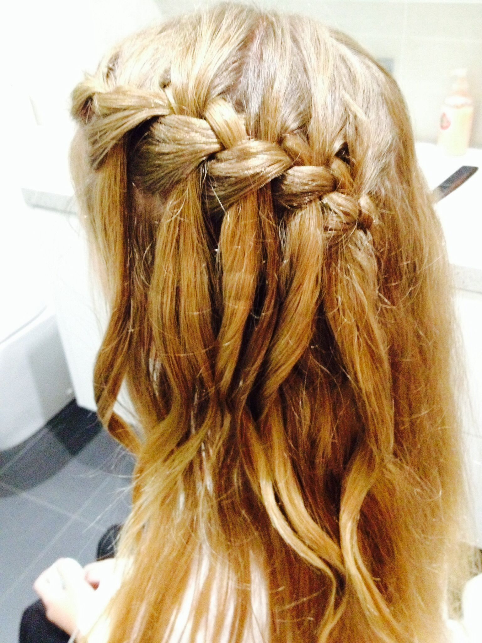 Waterfall braid with curled ends. | Hair | Pinterest