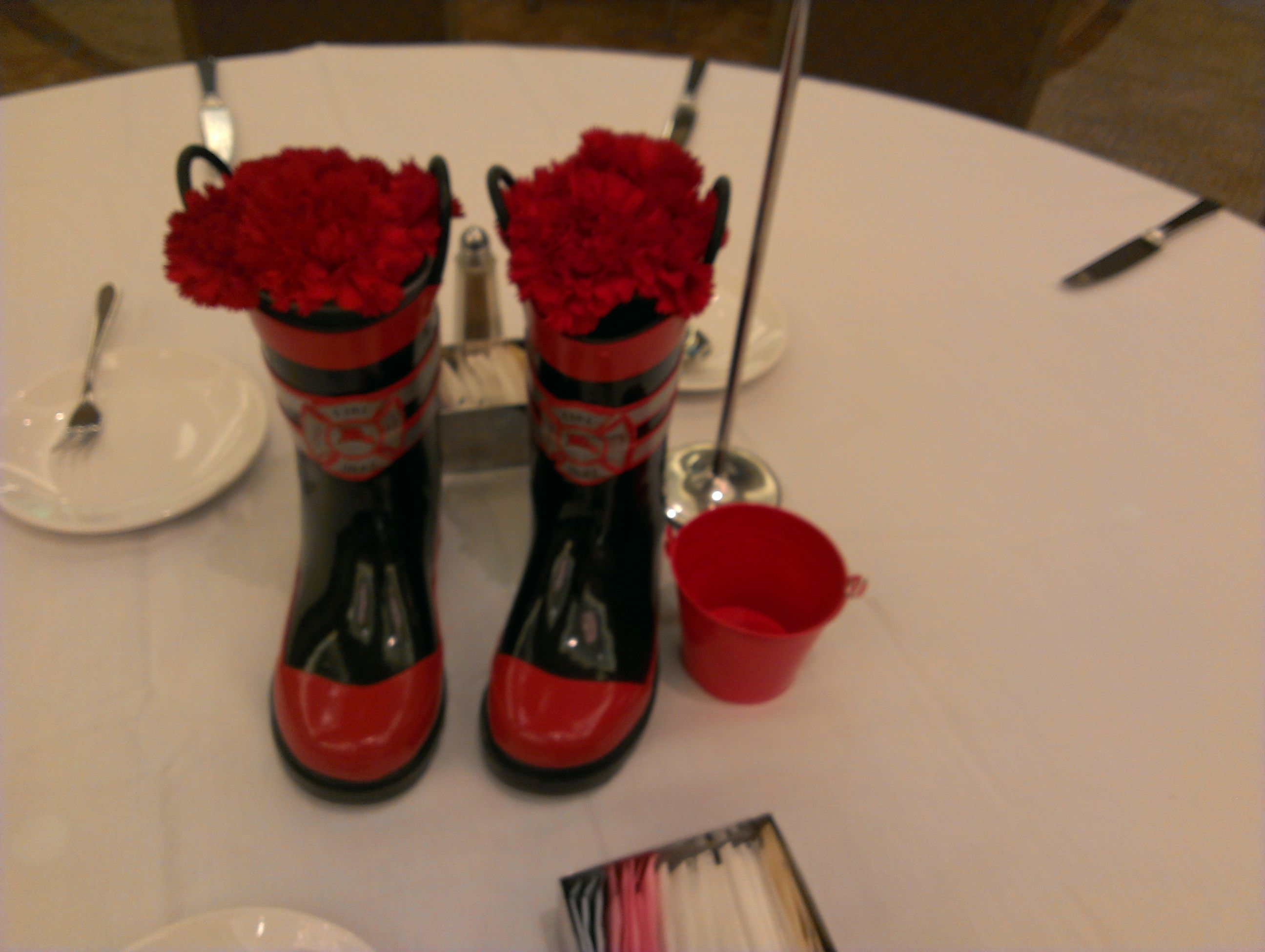 Fire related centerpieces service pinterest