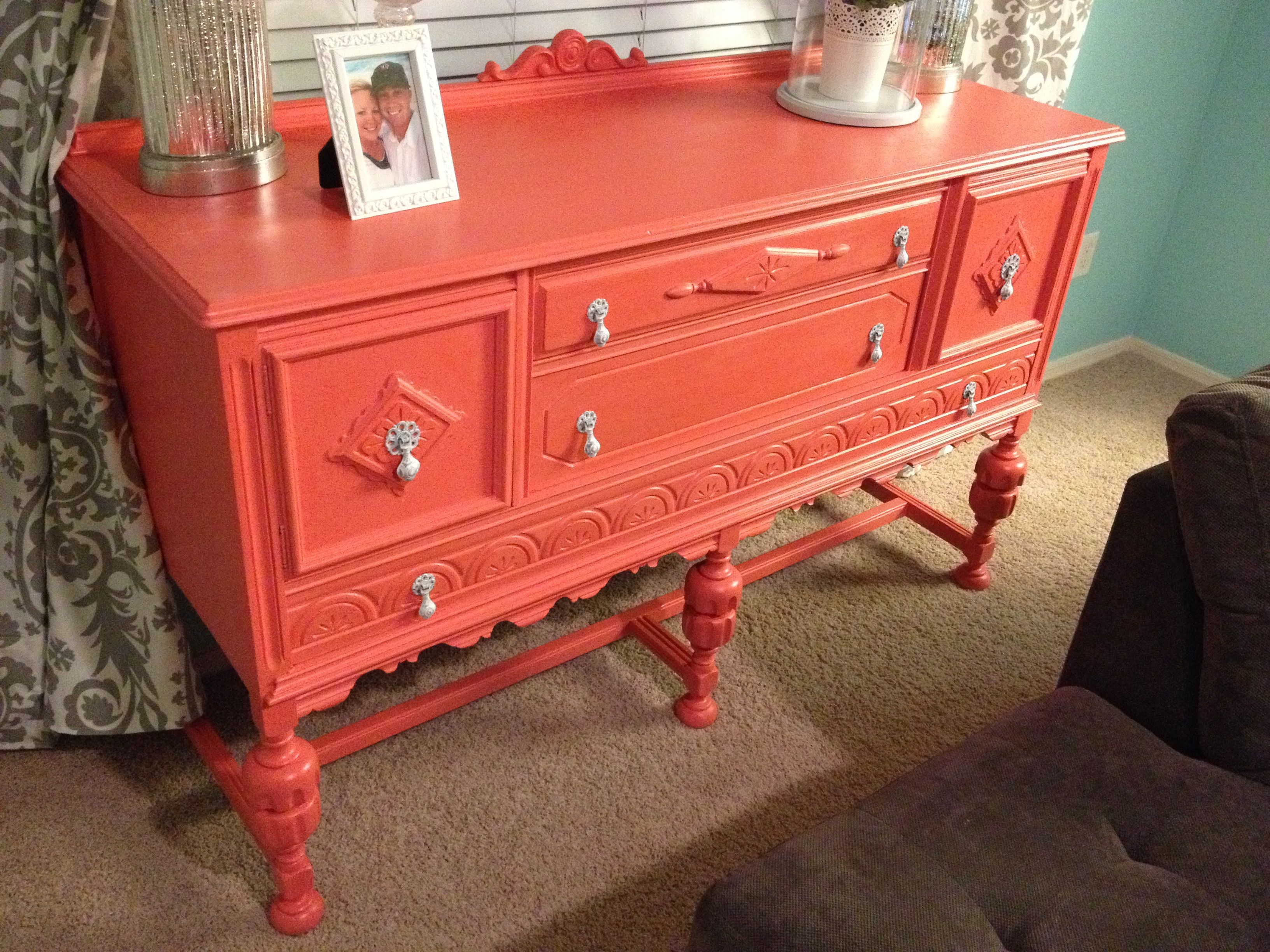my hutch painted coral this week painted furniture pinterest