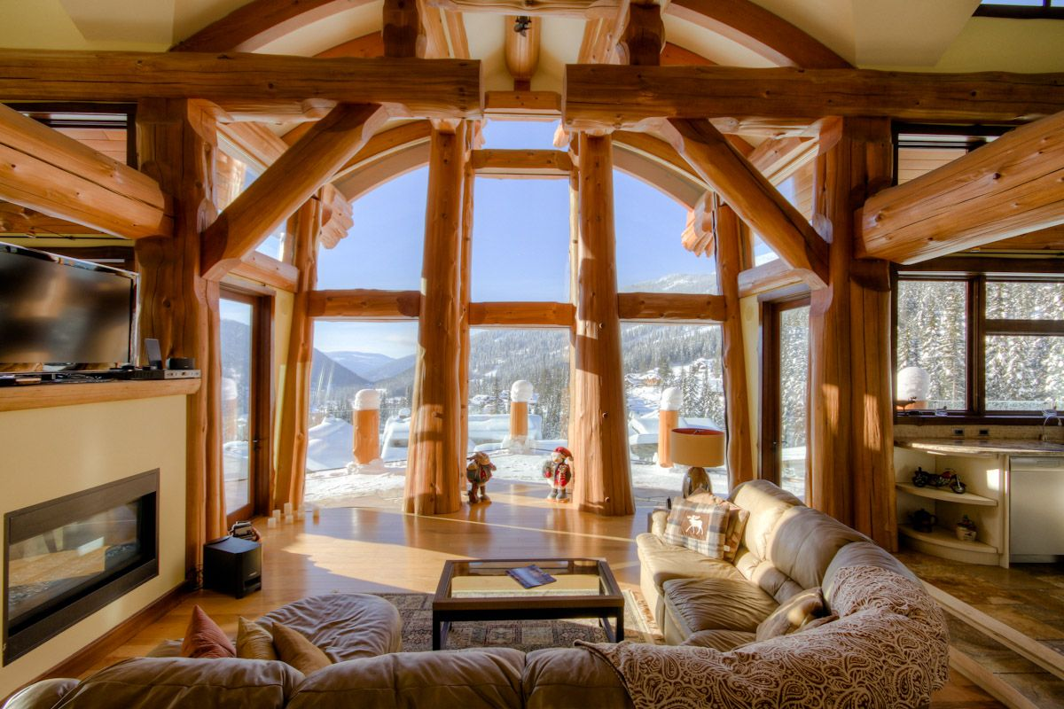 Cedar Post And Beam Home Glass Forest Log Cabins