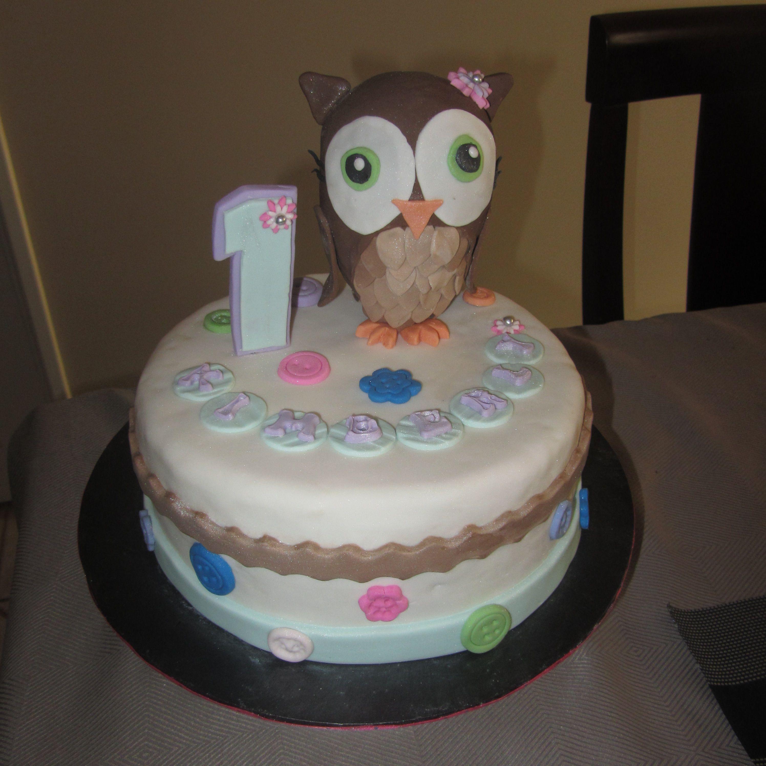 1st birthday owl cake december 2013 cake decorating for Decorating 1st birthday cake