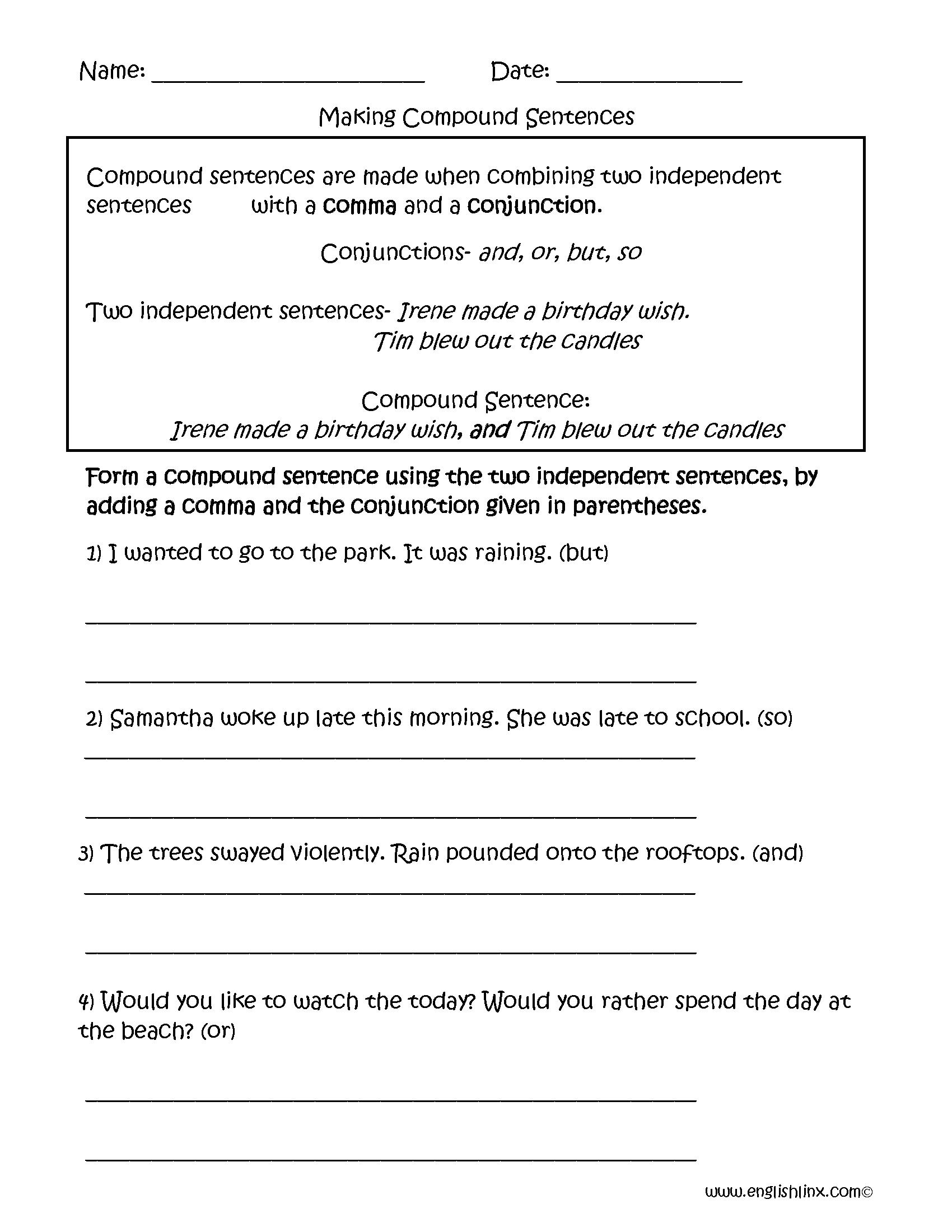 Simple compound complex sentences worksheet 3rd grade