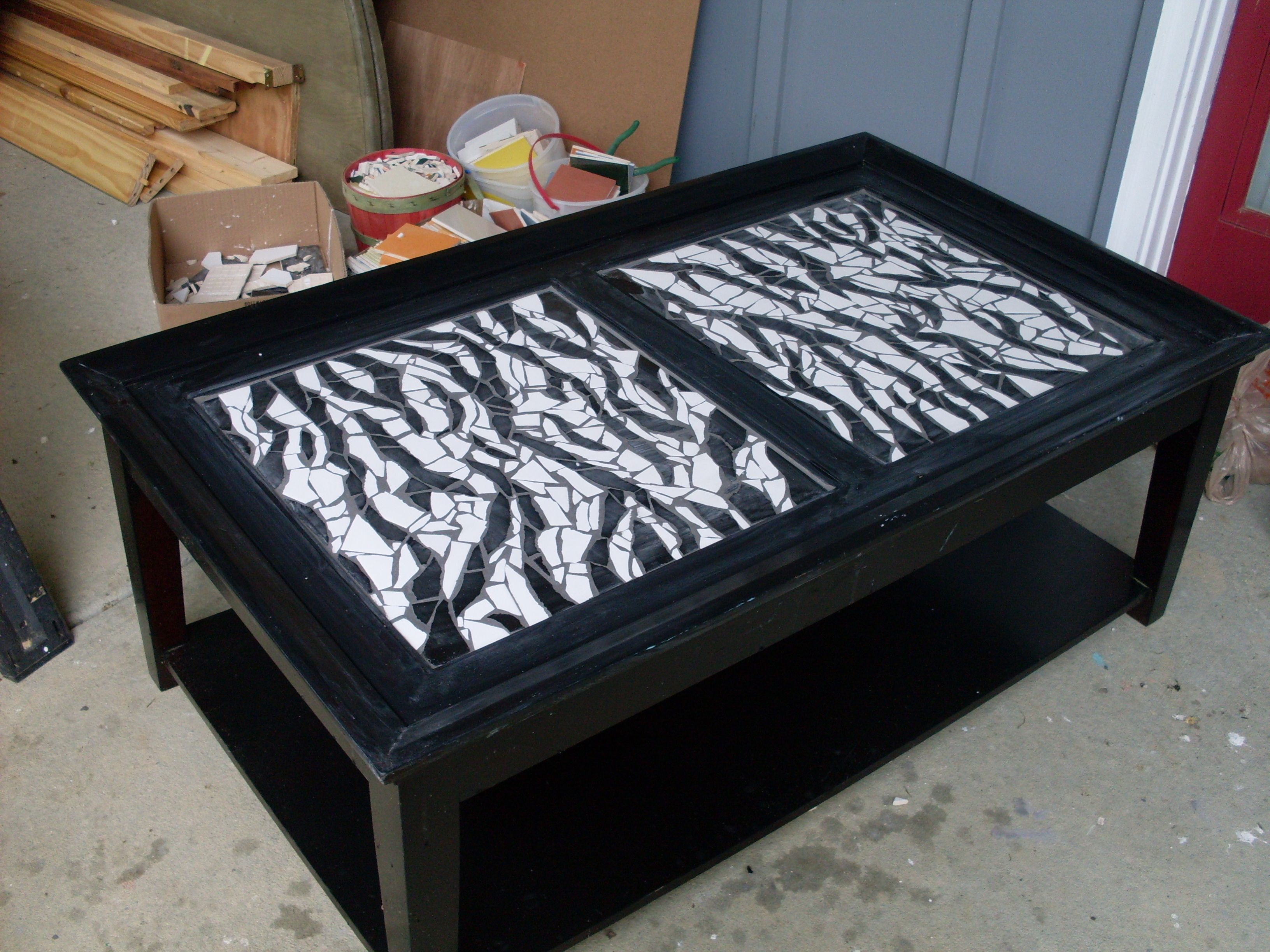 Zebra Mosaic Coffee Table For The Home By Sas A Crafts Pinterest