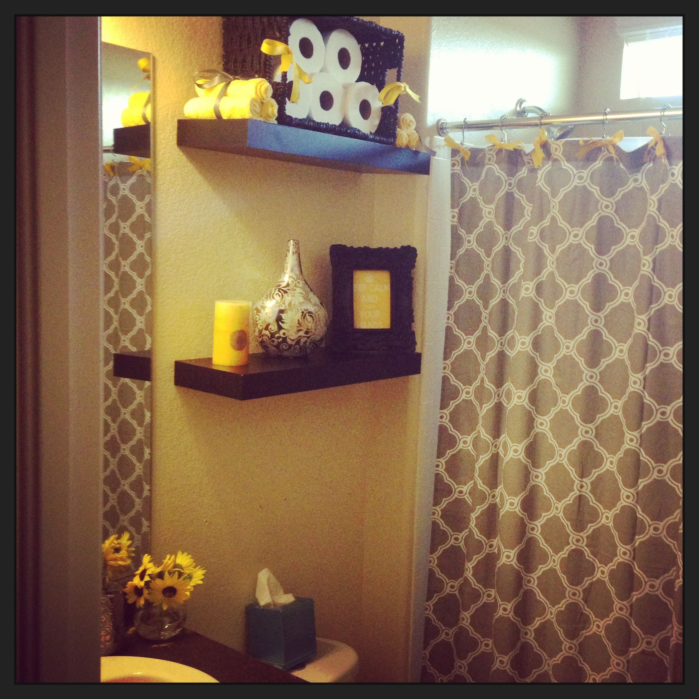 our gray and yellow guest bath decor pinterest
