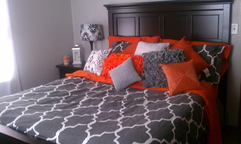grey orange and white bedroom for the home pinterest