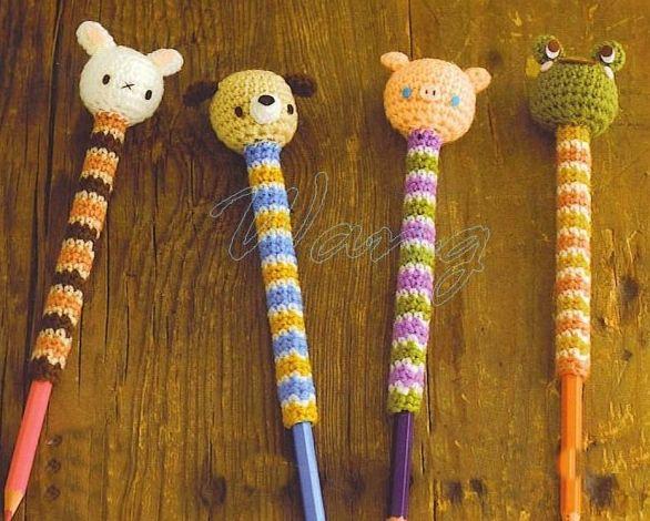 fundas de crochet para lápices